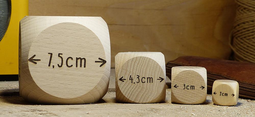 Unsere verschiedenen Würfelgrößen zum Anpassen, 2 cm, 3 cm, 4,3 cm oder 7,5 cm